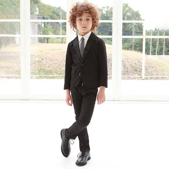 35%OFFセール ジェネレータースーツ 上下セット 子供服 サテンドレステーラードジャケットスーツ上下2点セット(ブラック)(ジャケット/パンツ)入学式 スーツ 男の子(110cm-130cm) (012103/002207) 入学式 子供服 男の子 フォーマルスーツ キッズ スーツ