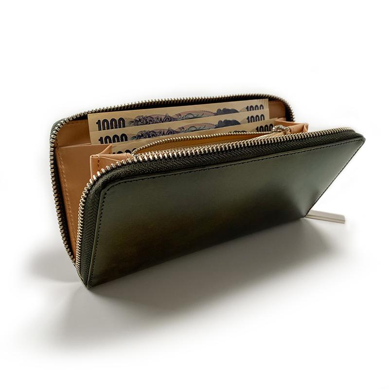 ラウンドファスナー財布(カーキグリーン)