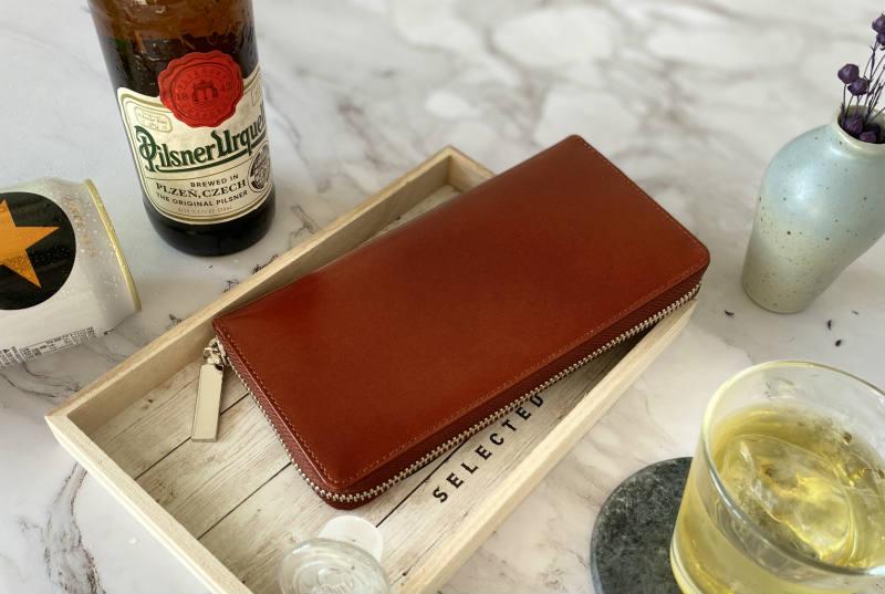 ラウンドファスナー財布(キャメル)