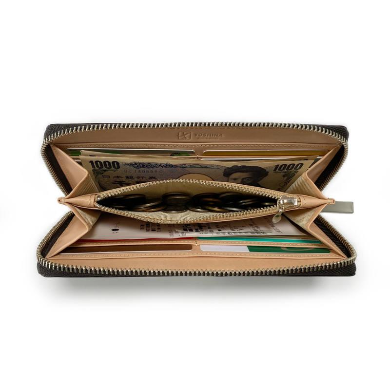 ラウンドファスナー財布(ダークブラウン)
