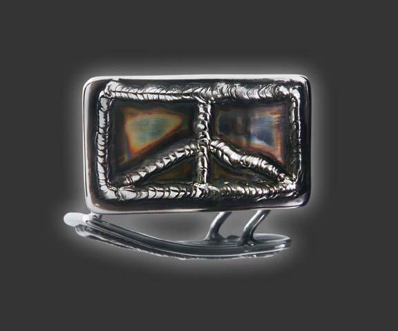 【カリフォルニアギャラリー限定】ピースサイン ハンドメイド ベルトバックル スコッティキャメロン Rectangle Peace Sign - HAND MADE Belt Buckle SCOTTY CAMERON