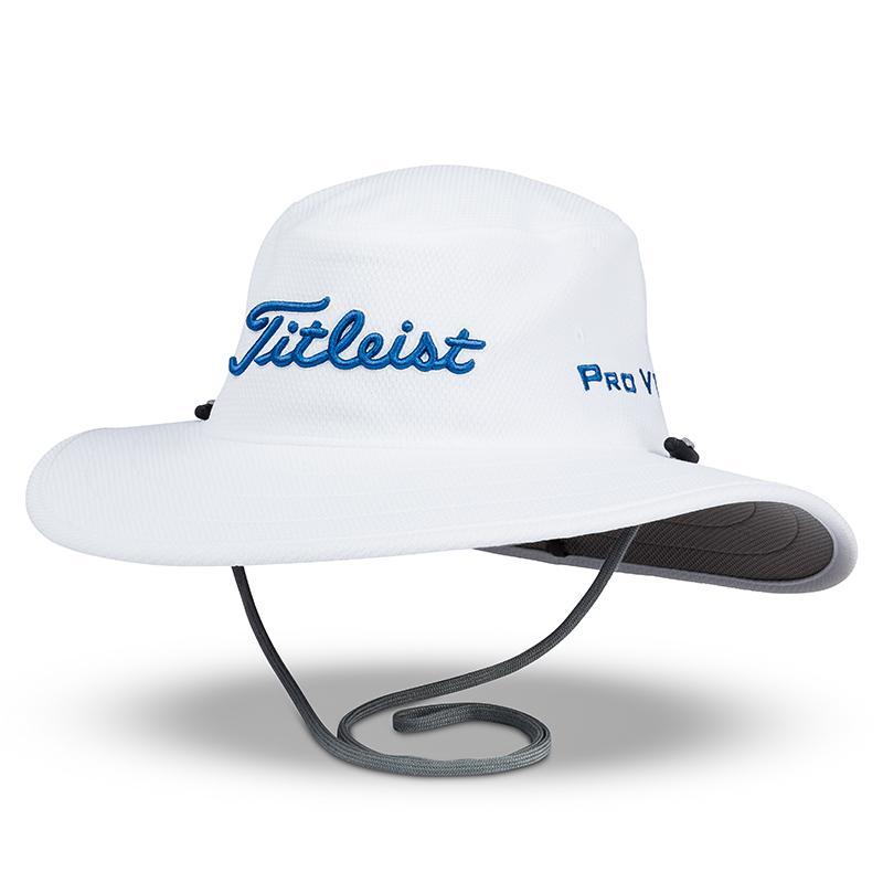 タイトリスト ツアー オージーハット  - ホワイト/ハーバーブルー - Titleist Men`s Tour Aussie Hat - White/Harbor Blue