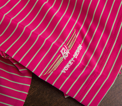【SALE】【Sサイズのみ在庫あり】VOKEY DESIGN FJ Stripe Lisle with Double Knit Collar - Berry + Mint ボーケイ ポロシャツ ベリー&ミント