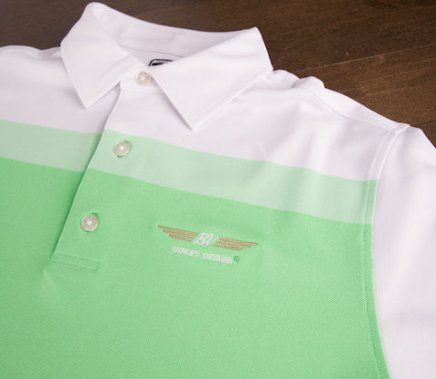 【SALE】【S・Mサイズ在庫あり】VOKEY DESIGN MASTERS LIMITED FJ Birdseye Colorblock Pique - Athletic Fit - Mint + White ボーケイ ポロシャツ ミント&ホワイト