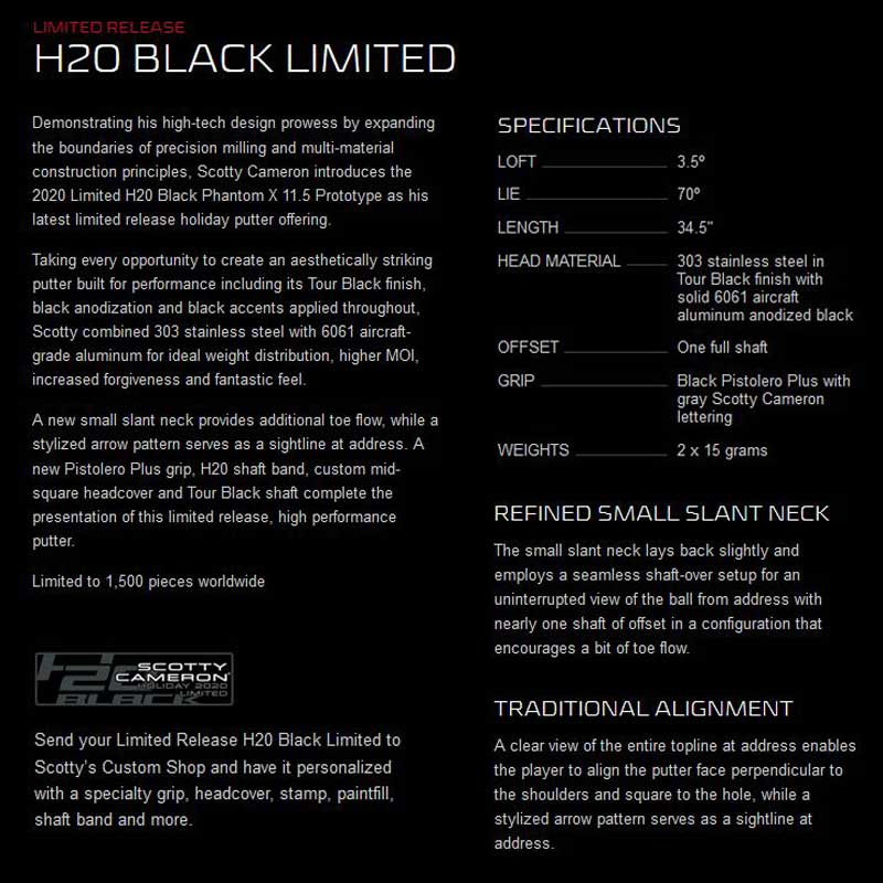【ラスト1本】【世界1500本限定】【US仕様】2020 ホリデイ H20 ブラック リミテッドパタースコッティキャメロン H20 BLACK LIMITED Putter SCOTTY CAMERON