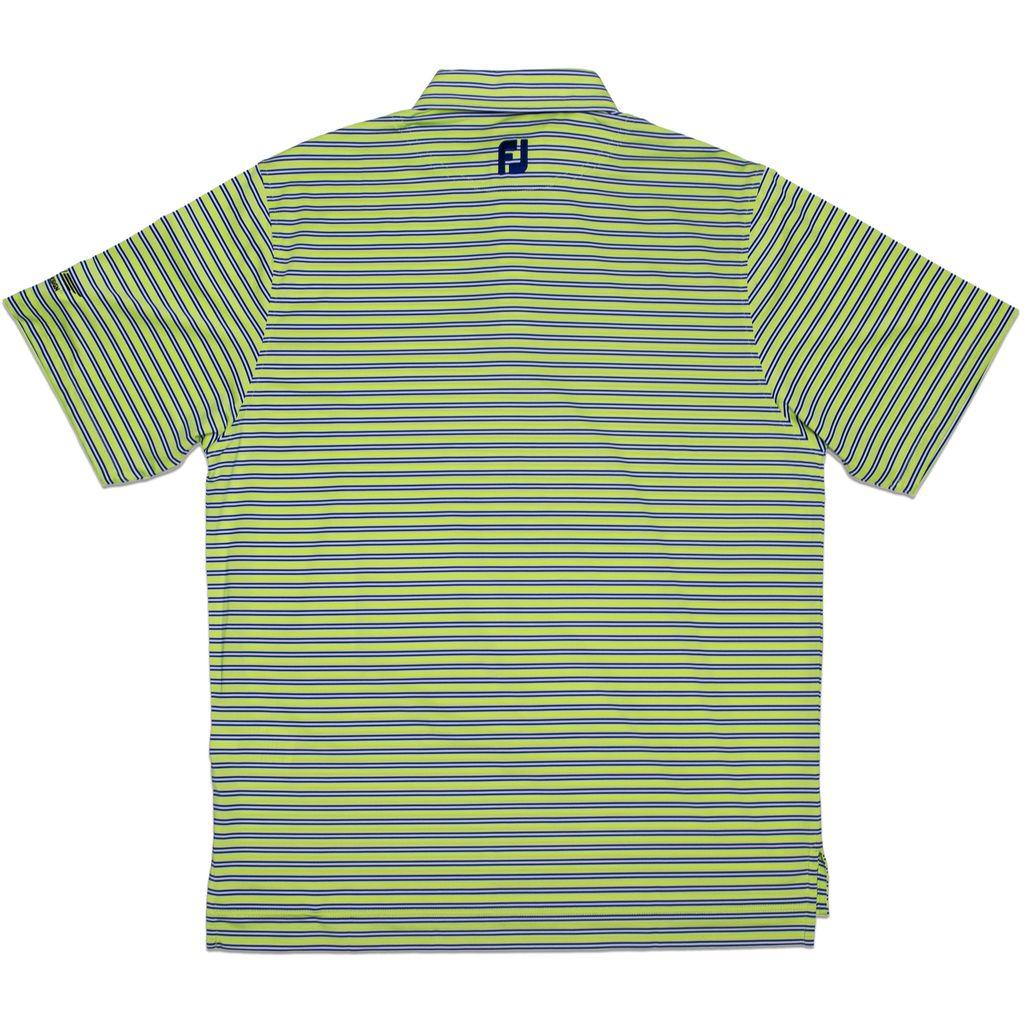 【SALE】【S・Mサイズ在庫あり】VOKEY DESIGN FJ Lisle Multi Stripe w/ Self Collar - Green Apple + Midnight Blue/White ボーケイ ポロシャツ グリーンアップルストライプ