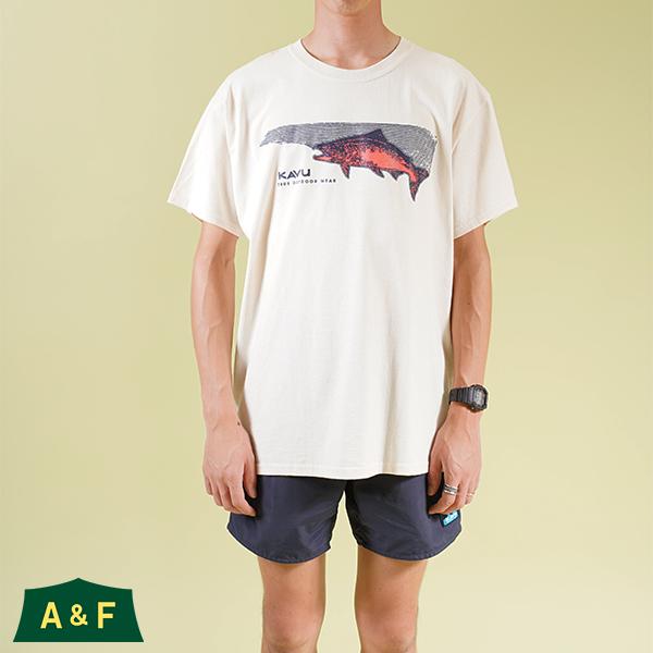 カブー メンズ サーモン Tシャツ ナチュラル Mサイズ