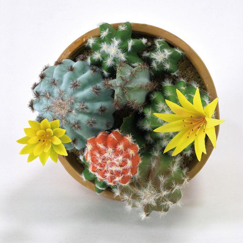 フェイクグリーン 花サボテン寄せ植え ラウンドポット Mサイズ DAGK2012 / SPICE OF LIFE