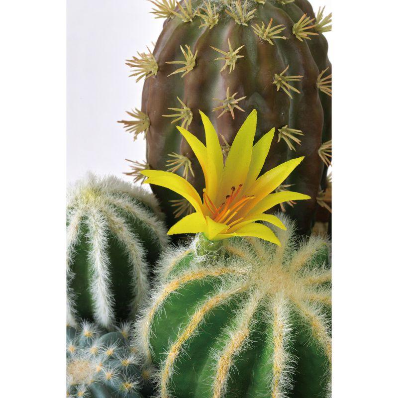 [SPICE OF LIFE] フェイクグリーン 花サボテン寄せ植え ラウンドポット Lサイズ DAGK2013