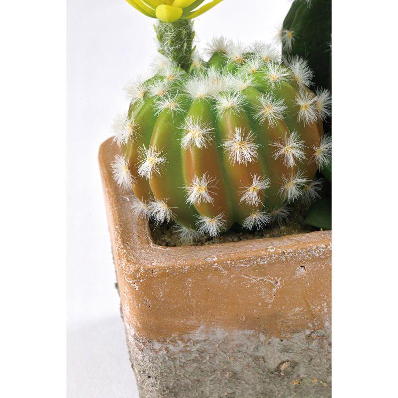 フェイクグリーン 花サボテン寄せ植え レクトポット Sサイズ DAGK2021 / SPICE OF LIFE