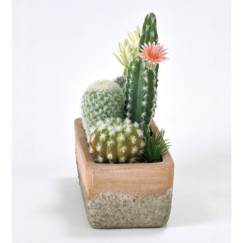 フェイクグリーン 花サボテン寄せ植え レクトポット Lサイズ DAGK2023 / SPICE OF LIFE
