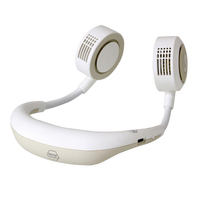 [2021年モデル] WFan ダブルファンハンズフリー ヨガシロッコ アイボリー 【風量5段階/USB充電式】 DFYS213IV / SPICE OF LIFE