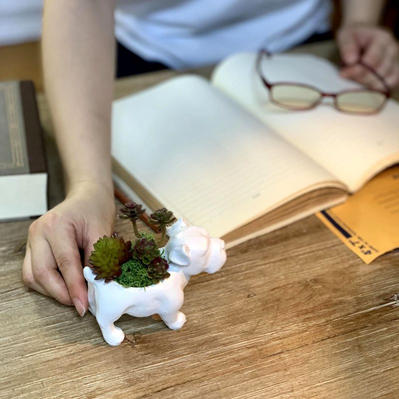 [SPICE OF LIFE] アニマルデコ 造花アレンジ イヌ HAT8001DO