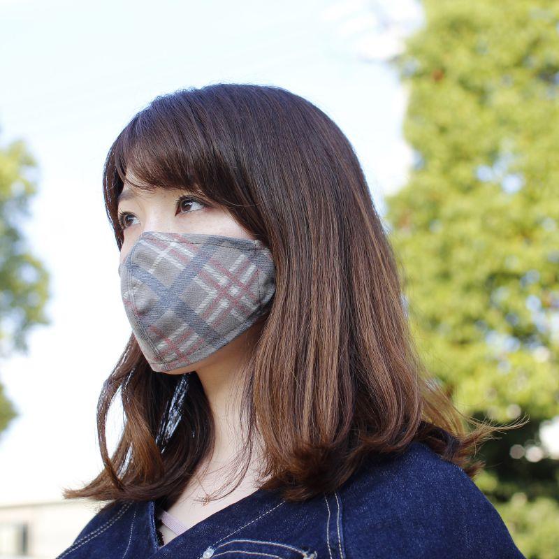 温感あったかマスク2枚セット チェックブラウン&チャコールグレー 小さめサイズ SFVZ2279GS / SPICE OF LIFE