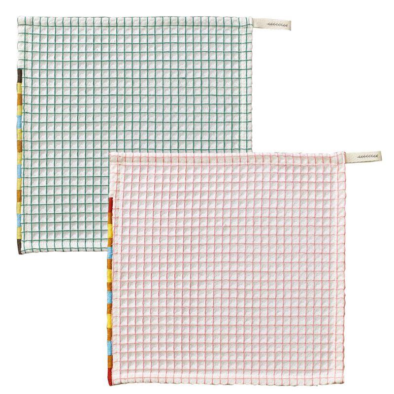 ふわふわワッフルタオル 2枚セット 熨斗付 ピンク&グリーン CRLN1239N / SPICE OF LIFE