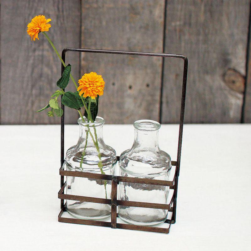 ガラスボトルフラワーベース アイアンホルダー付き ダブル ブリュージュ HELZ2070 / SPICE OF LIFE