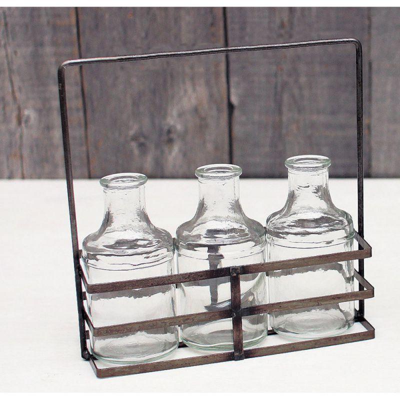 ガラスボトルフラワーベース アイアンホルダー付き トリプル ブリュージュ HELZ2080 / SPICE OF LIFE