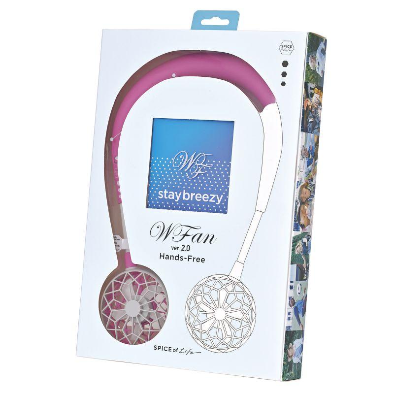 WFan ダブルファン ハンズフリー ver.2.0 ラズベリー 【風量3段階/USB充電式】 DF201RB / SPICE OF LIFE