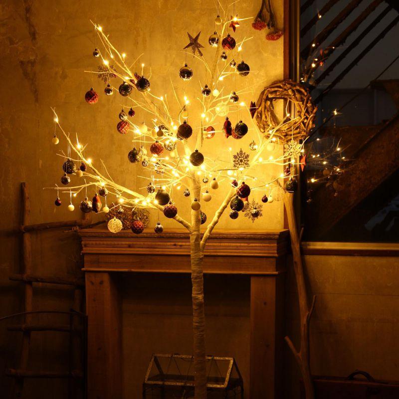 [大型送料1,650円]【3,600円OFF】 LEDブランチツリー ホワイト トール×レッドオーナメントSET RJXN3114WHRG  / SPICE OF LIFE