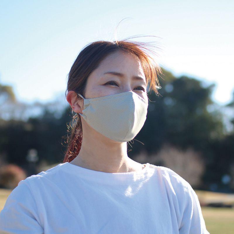 UVカットウォータークールマスク2枚セット ベージュ&ホワイト 小さめサイズ SFVZ2149BS / SPICE OF LIFE