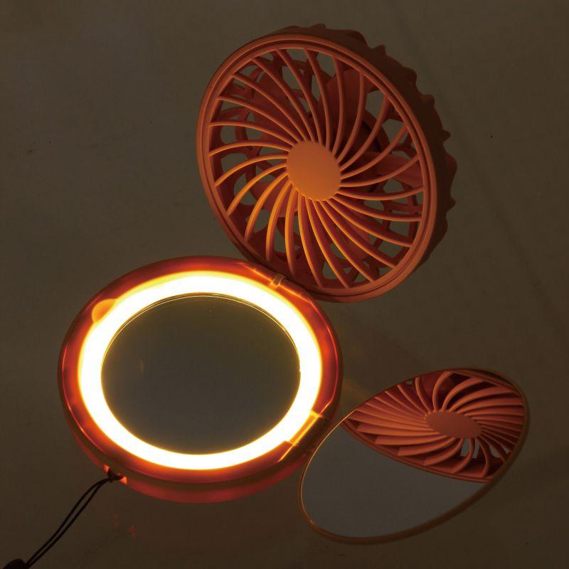 ミラーファンビュラス ピンクラベンダー 鏡・ライト付きコンパクトファン DFCP216PK / SPICE OF LIFE