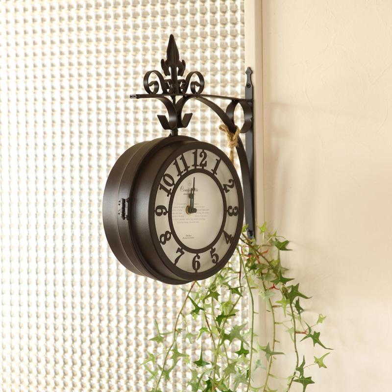 壁掛け両面時計 ブラウン Lサイズ OLD STREET NHE801LBR / SPICE OF LIFE