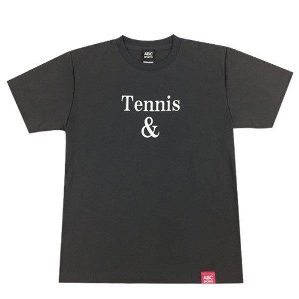 [ウェア]ABCオリジナルス 「Tennis&」ロゴ DRY Tシャツ ガンメタル(w-0078)