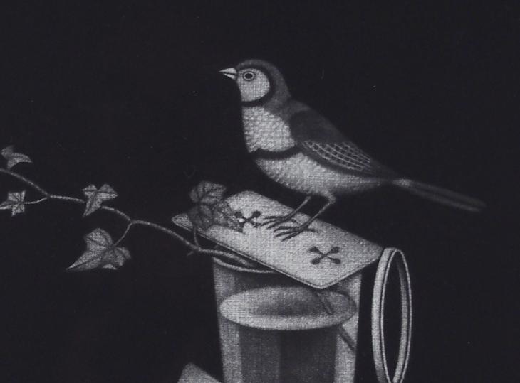 長谷川潔 「飼い馴らされた小鳥(西洋将棋など)」(オリジナル版画)