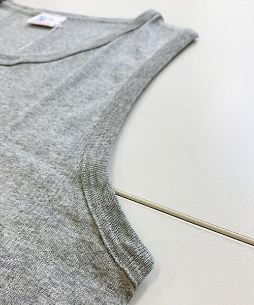 メンズ  パネルリブ ラウンド裾タンクトップ