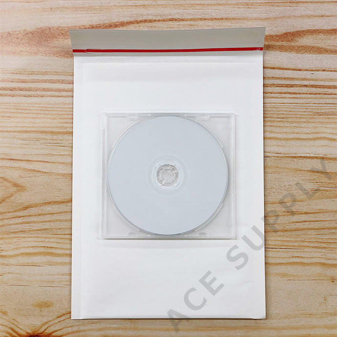 【600枚】クッション封筒 スリム薄型 開封テープ付 ホワイト ZEROサイズ(外寸190×254+40mm)