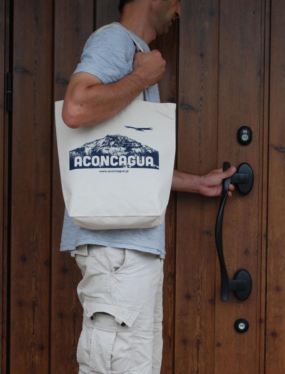 キャンバス トートバッグ Mサイズ 10L 薄手キャンバス エコバッグ 買い物バッグ アコンカグア