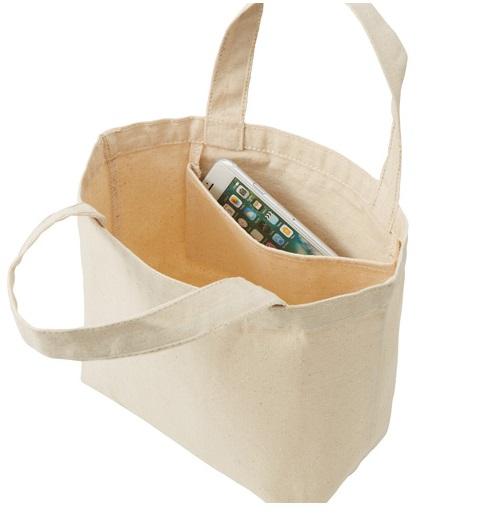 キャンバストートバッグ Lサイズ 19L 内側小物ポケット付き12onz エコバッグ 買い物袋 アコンカグア 送料無料