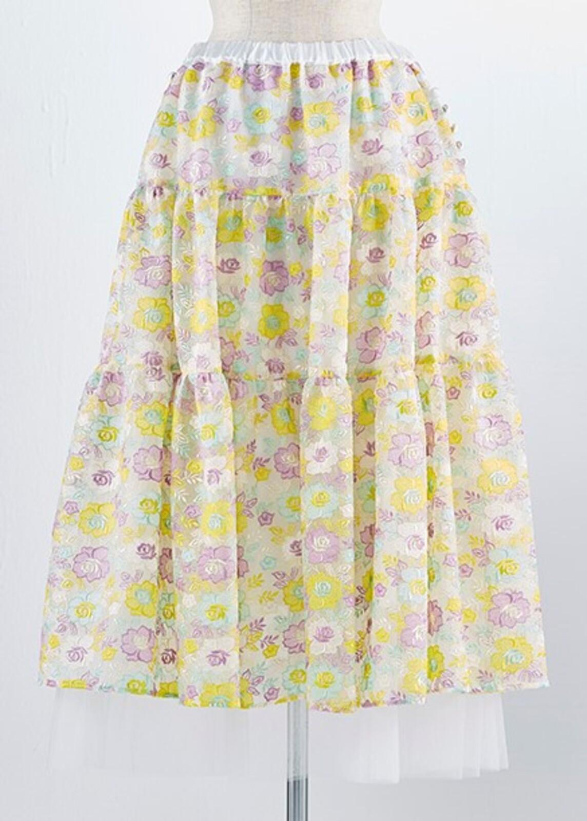 マルチフラワー刺繍スカート