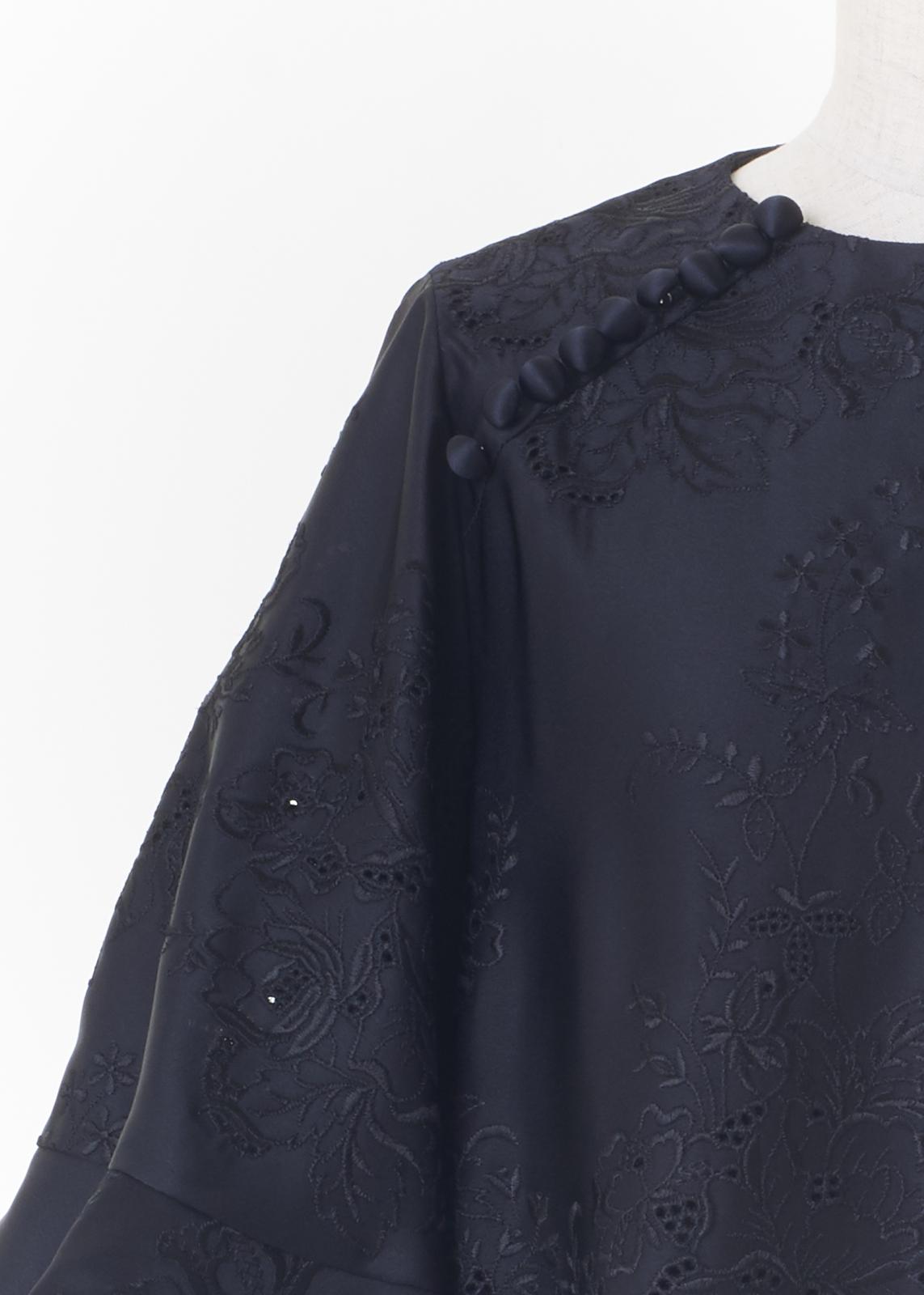 花レース刺しゅう肩釦Aラインワンピース