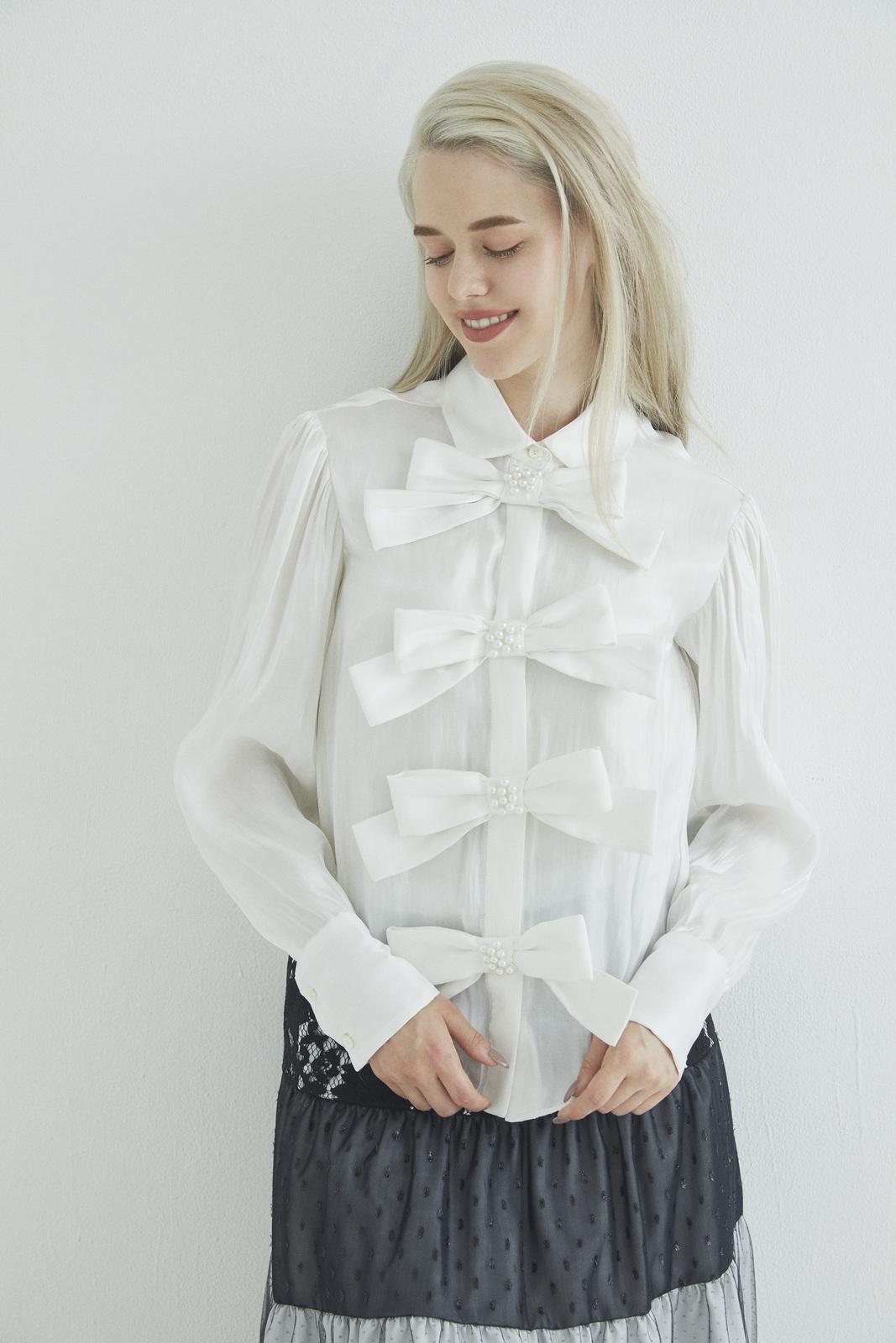 リボンパールシャツ