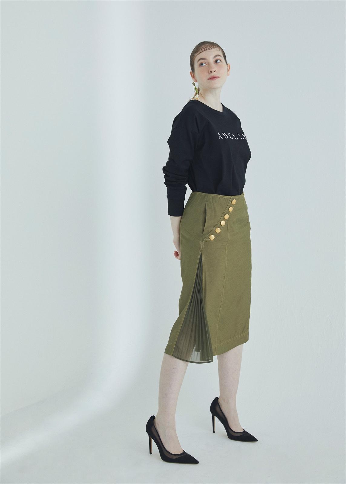 ボタン切替えプリーツスカート
