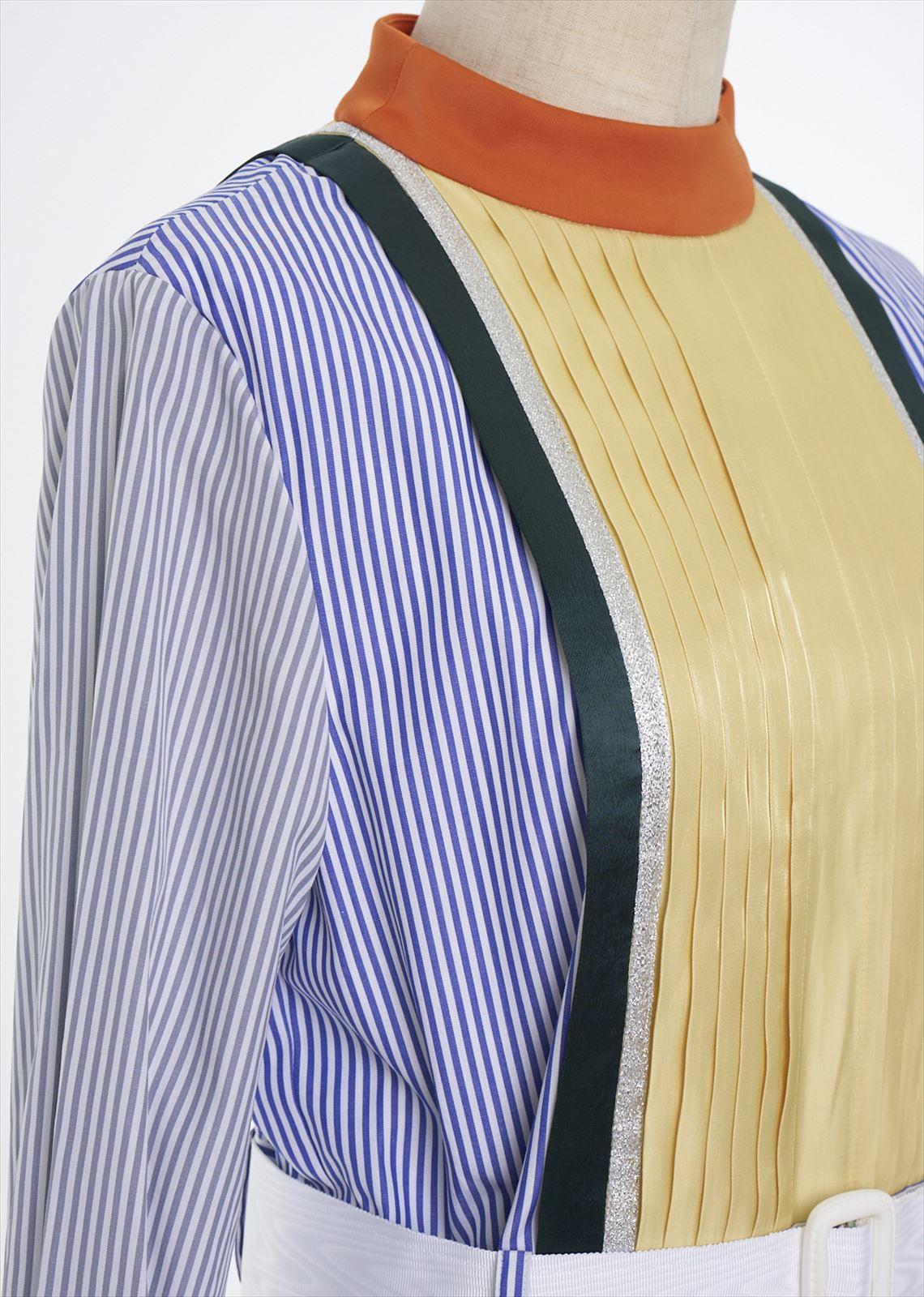 カラーブロックシャツワンピース