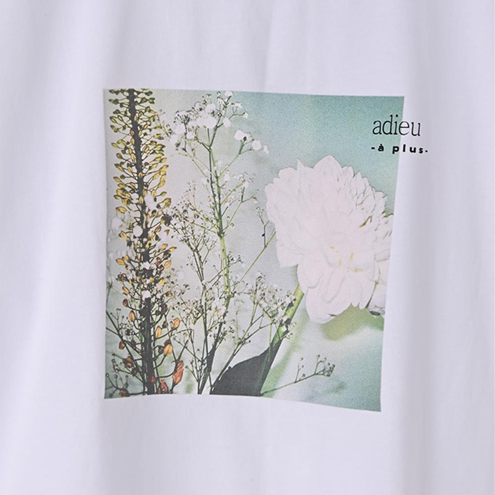 【adieu】愛の花ダリアTee (ホワイト)