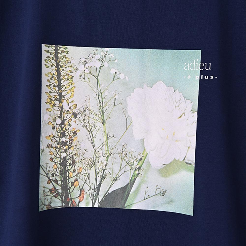 【adieu】愛の花ダリアTee (ネイビー)