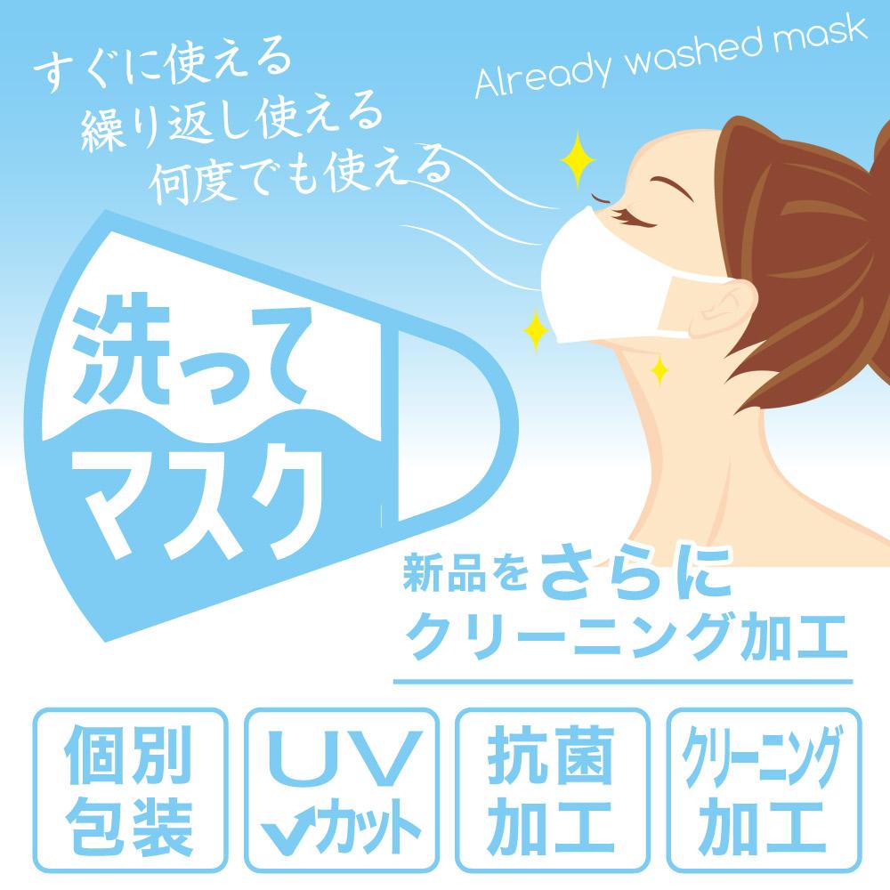 クリーニング加工・抗菌加工・UVカット・個別包装「洗ってマスク」