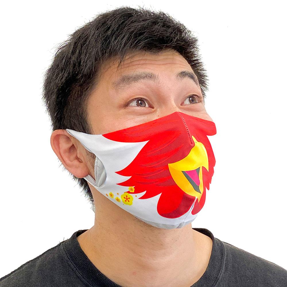 マスクカバー【開運!!!干支(えと)マスク】 酉(とり) 同窓会、リモート会議の新定番(ニューノーマル)! みんなで楽しめる!