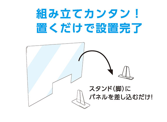 飛沫防止パネルセット パネル【600×600mm】+スタンド2台