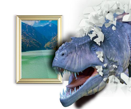 飛び出す恐竜