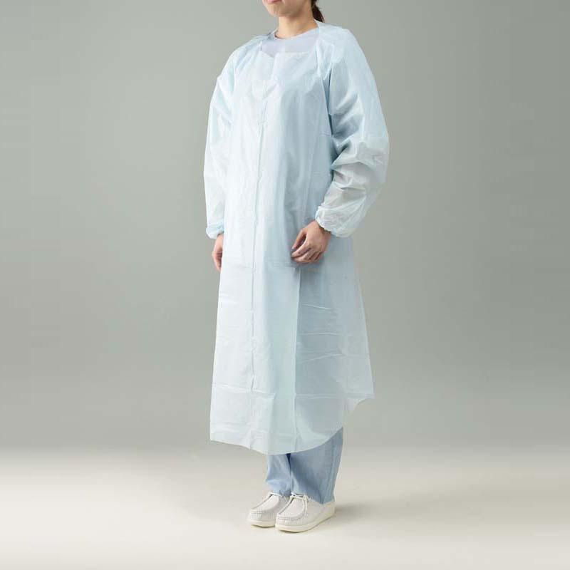 プラスチックエプロン 袖付ブルー 20枚入り