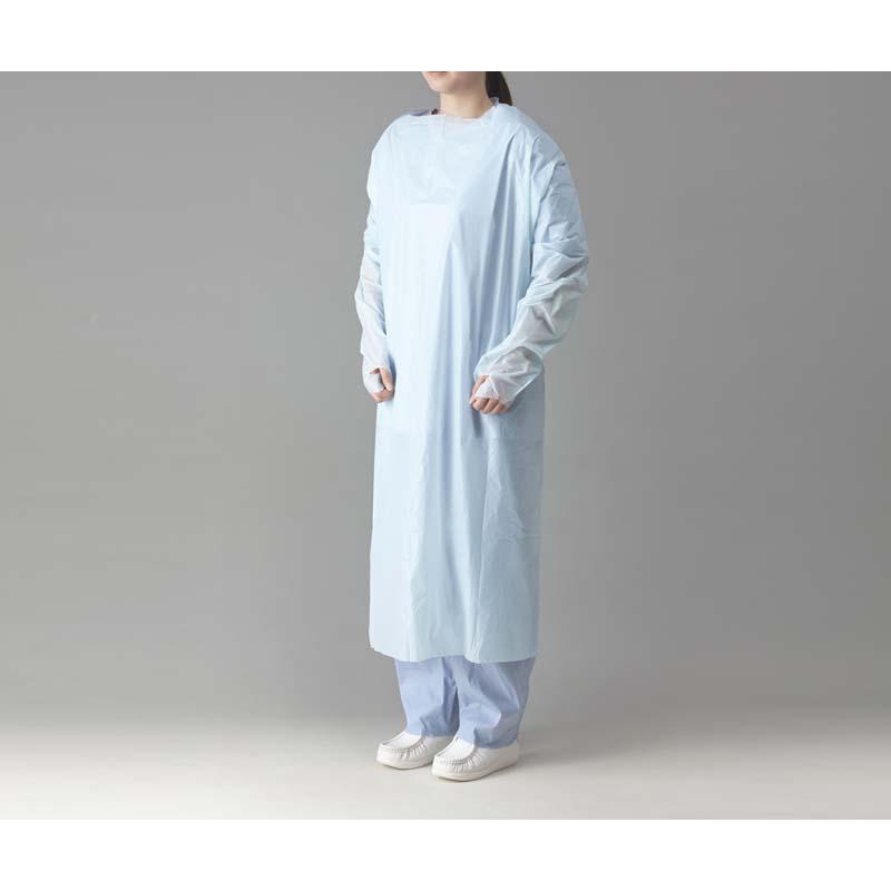 プラスチックエプロン 袖付ブルー(指掛タイプ) 20枚入り