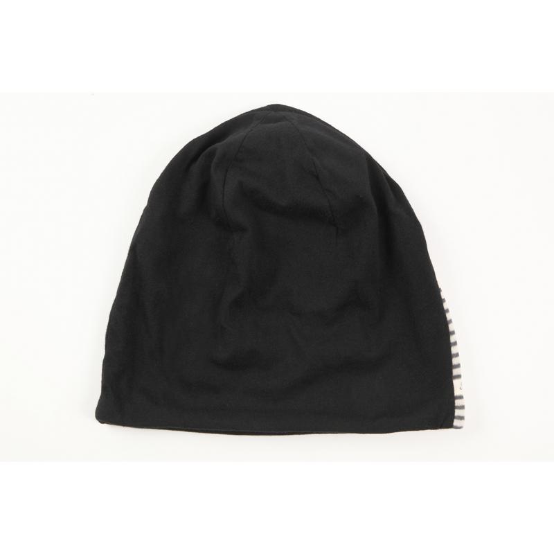 タンドレ 抗がん剤医療用帽子 オーガニックコットン 真っ黒横しま帽子