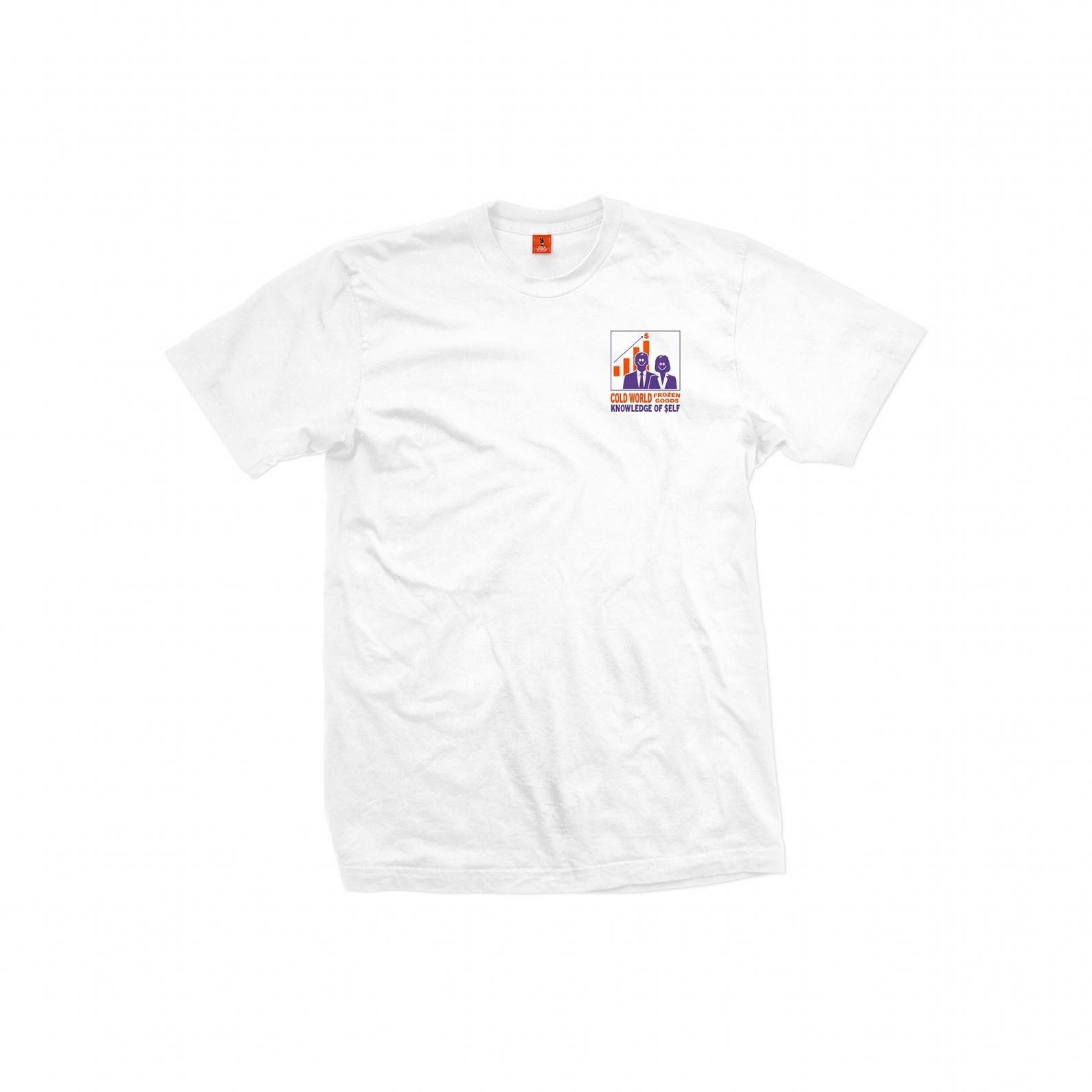 【COLD WORLD FROZEN GOODS/コールドワールドフローズングッズ】INVESTMENT T-SHIRT Tシャツ / WHITE