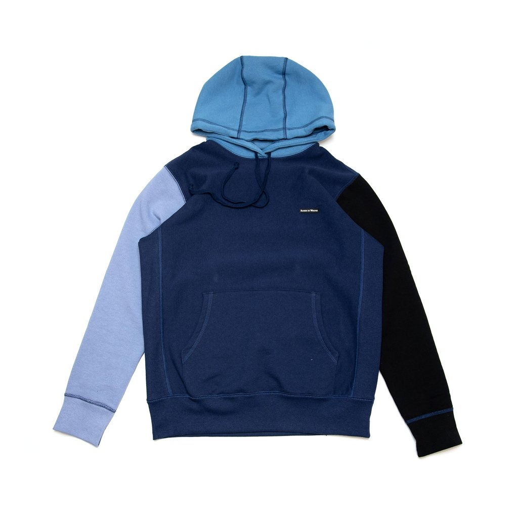 【RAISED BY WOLVES/レイズドバイウルブス】MIXED HOODIE パーカー / DARK BLUE