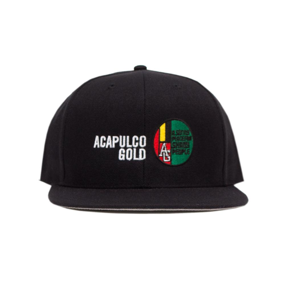 【ACAPULCO GOLD/アカプルコ ゴールド】MEDALLION 6 PANEL SNAPBACK スナップバックキャップ / BLACK
