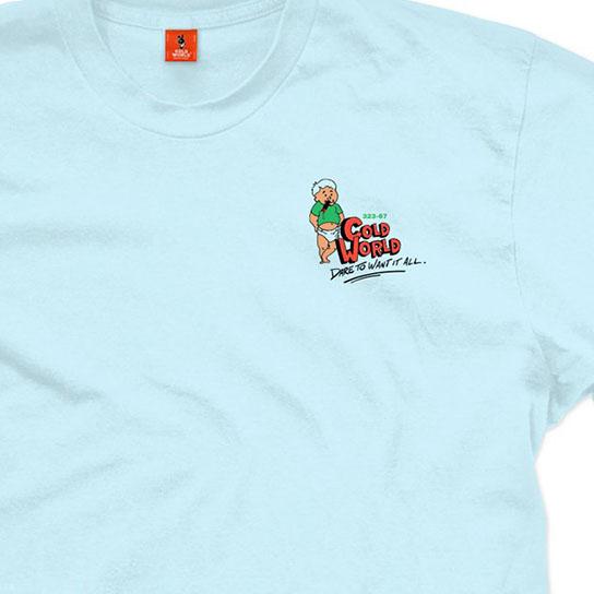 【COLD WORLD FROZEN GOODS/コールドワールドフローズングッズ】BORN WINNER T-SHIRT Tシャツ / CHAMBRAY BLUE